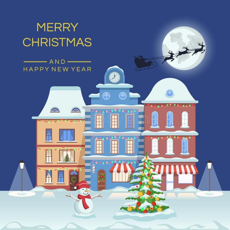 Happy New year and merry Christmas, winter night town street with christmas fir tree and snowman. Vector illustration stock illustration