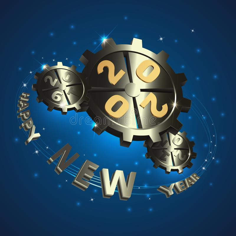 Happy New Year. Metal gears with gold numbers stock illustration