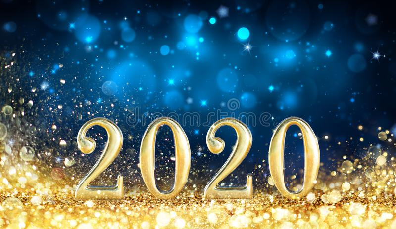 Happy New Year 2020 - Metal Number With Golden Glitter. In Shiny Night royalty free stock photo
