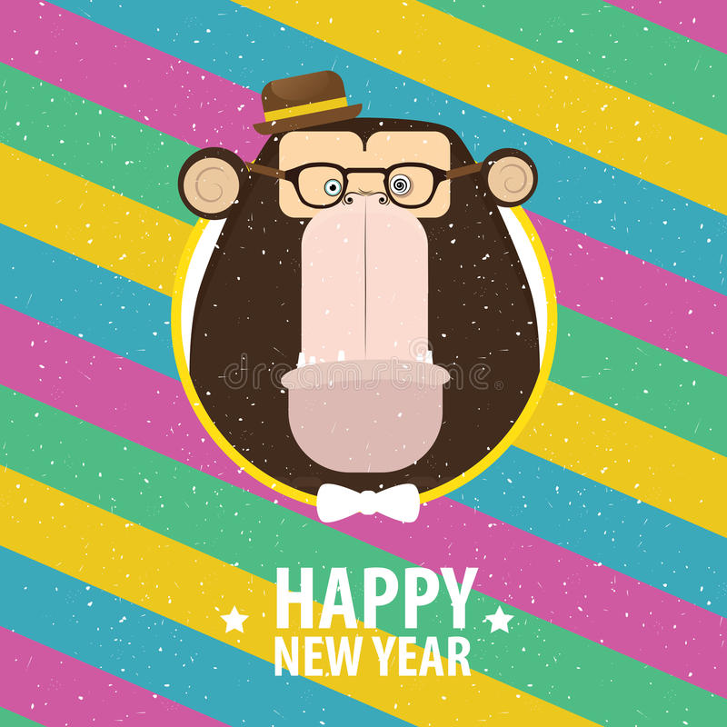 Happy New Year with monkey in varicolored frame royalty free illustration