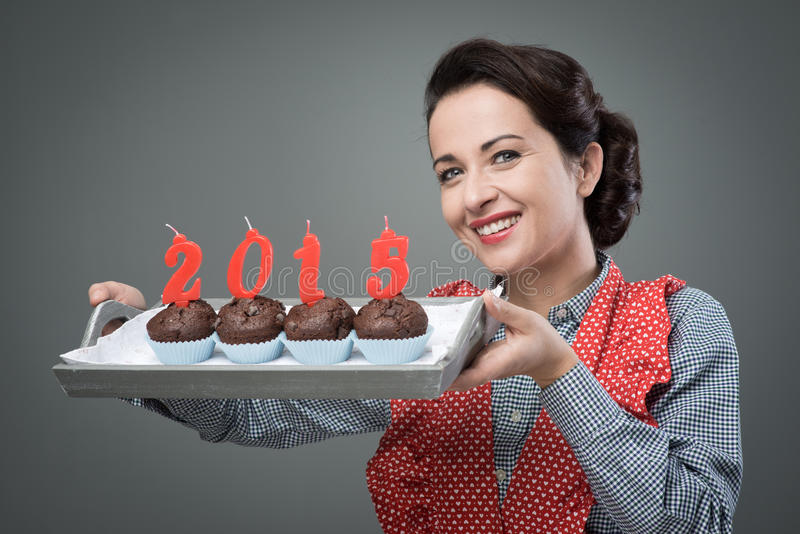 Happy New Year 2015 with muffins stock photos