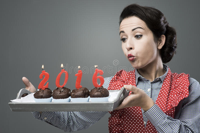 Happy New Year 2006 with muffins royalty free stock images
