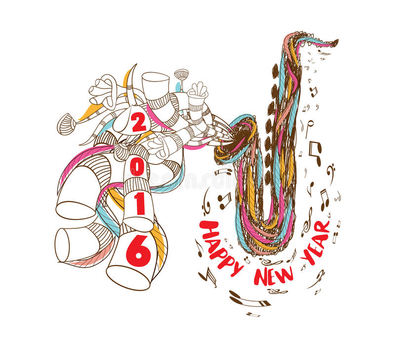 Happy new year 2016 musical with Jazz Saxophone doodle art royalty free illustration