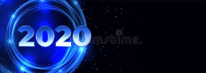 2020 happy new year neon blue banner design vector illustration