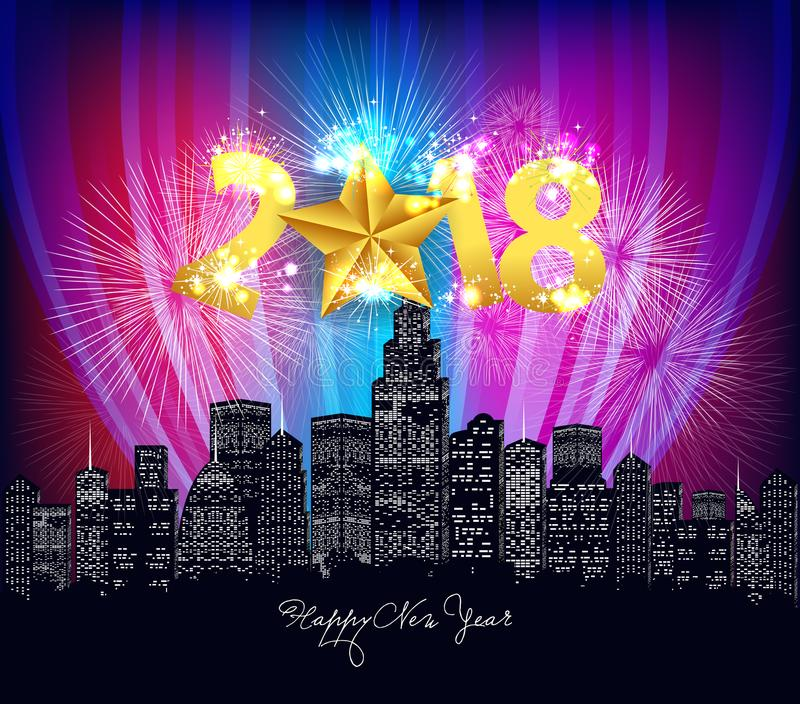 Happy new year neon greeting. Fireworks in the city night 2018.  stock illustration