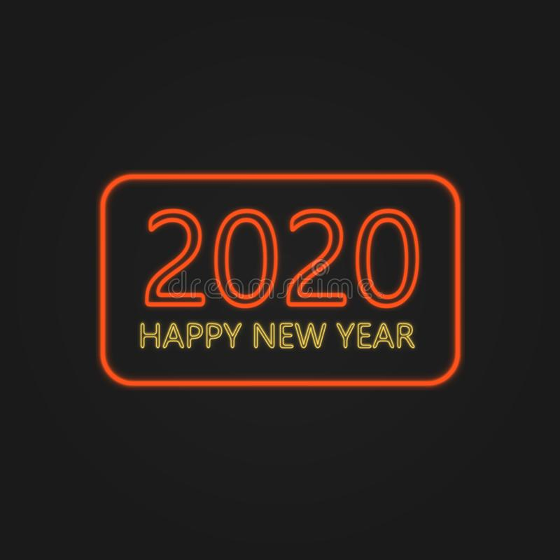 Happy New Year 2020 Neon Lights stockfotos