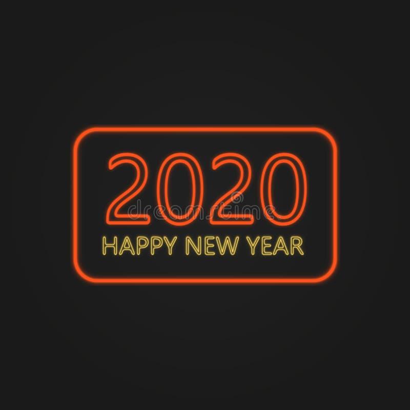 Happy New Year 2020 Neon Lights stock photos