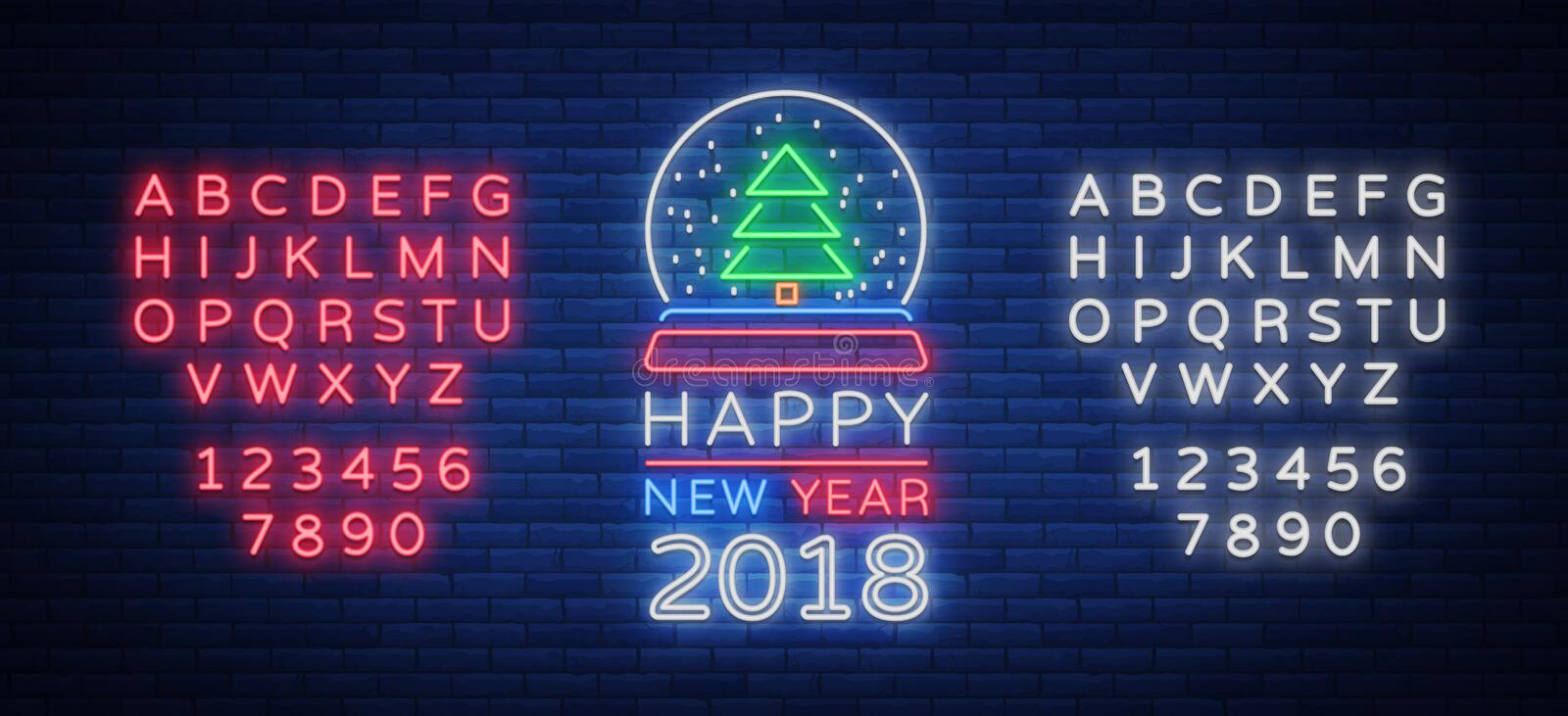 Happy new year 2018 is a neon sign. Neon symbol for your New Year`s projects royalty free illustration