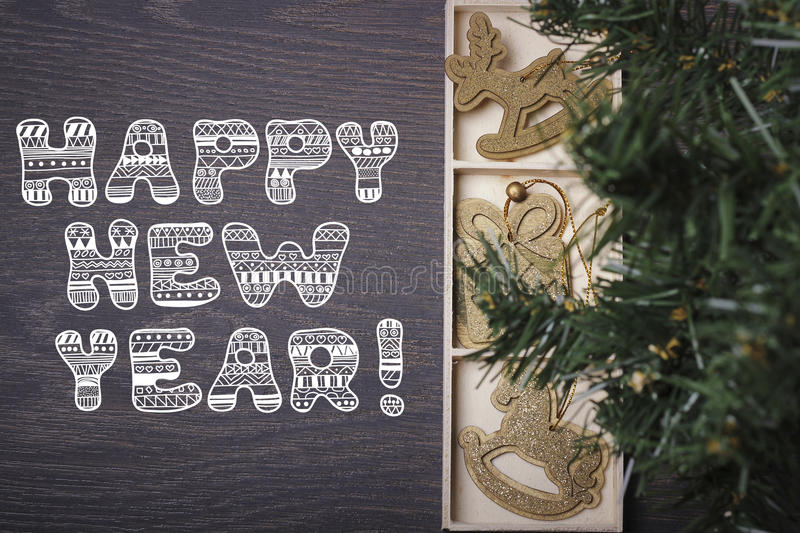 Happy new year! New year or Christmas card. Christmas tree and Christmas decoration, top view royalty free stock images