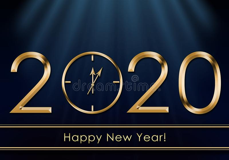 Happy New Year 2020. New Year Clock stock images