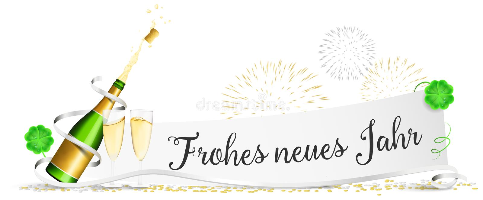 Happy new year New Year`s Eve paper with champagne glasses, fireworks and clover isolated vector royalty free illustration