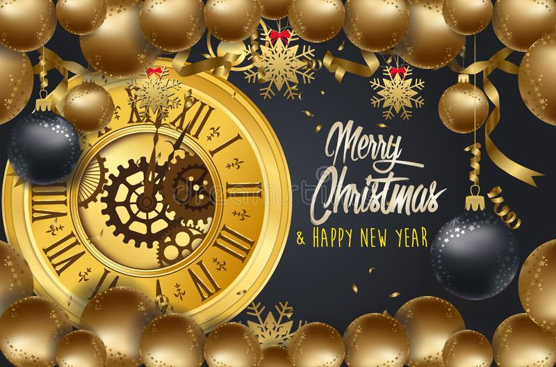Happy New Year 2020 - New Year Shining background with gold clock and balls vector illustration