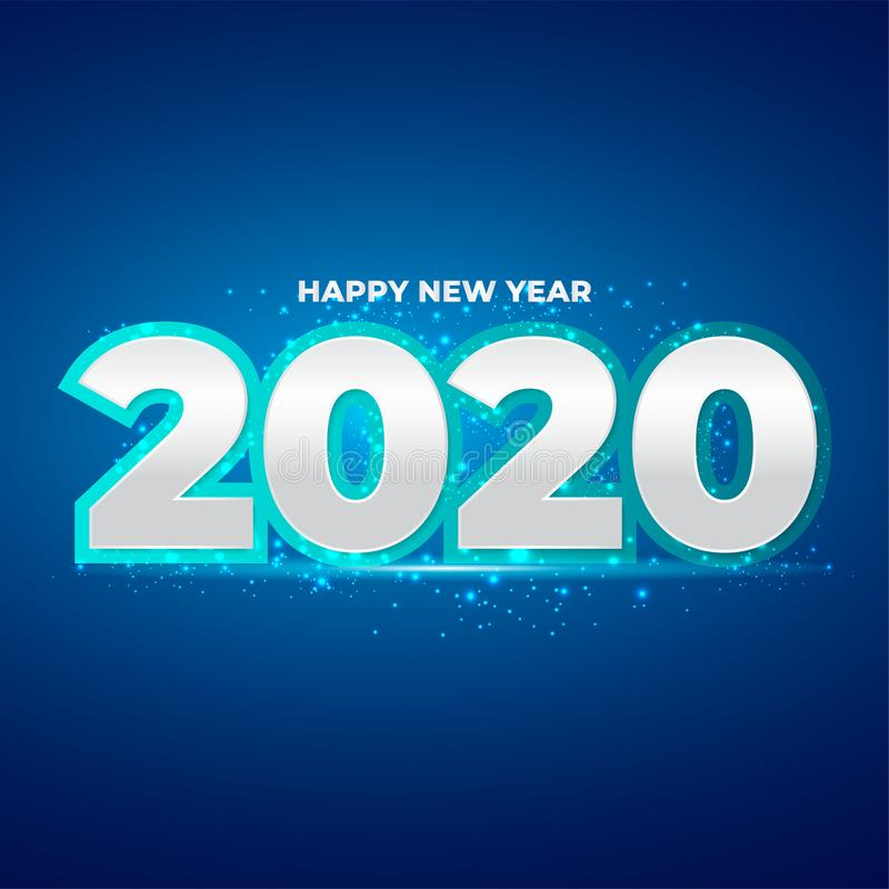 Happy New Year 2020 number with blue glitter splatter. Festive premium design template for greeting card, calendar, banner. royalty free stock image
