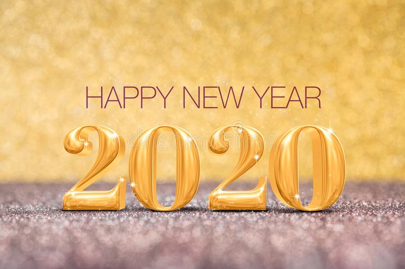 Happy new year 2020 year number  3d rendering  at sparkling golden and red copper glitter floor studio background ,Holiday. Celebration Greeting card stock illustration