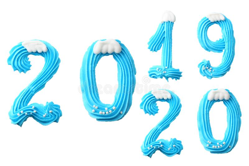 Happy New Year 2020. Number 2020 made of blue sweets. Creative typography, banner design. Sweet winter dessert ingredients royalty free stock image