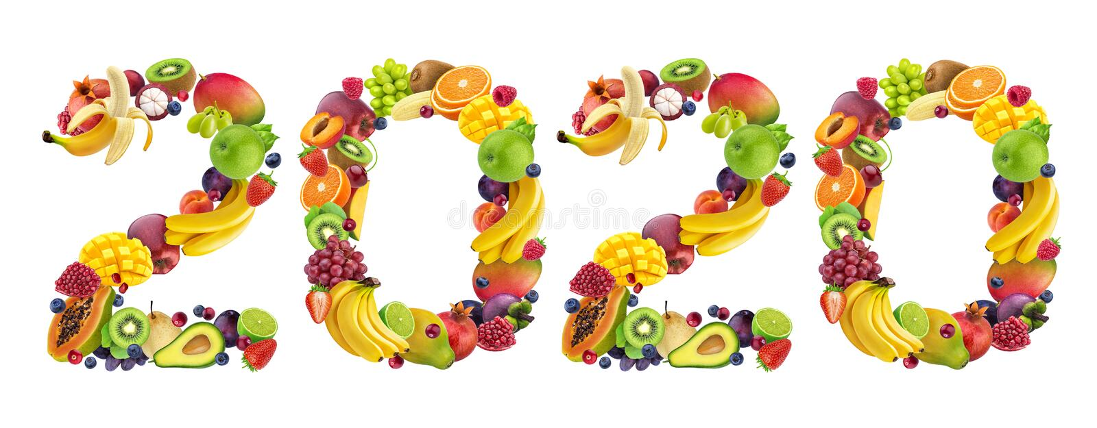 Happy New Year 2020. Number 2020 made of tropical and exotic fruits stock photo