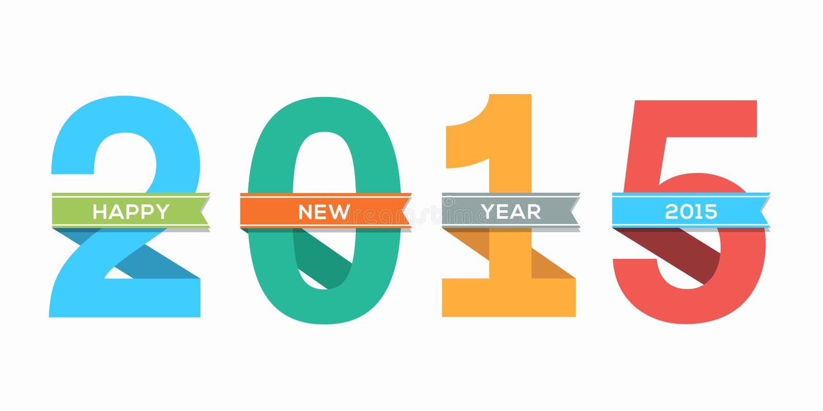 2015 Happy New Year number with ribbon vector illustration