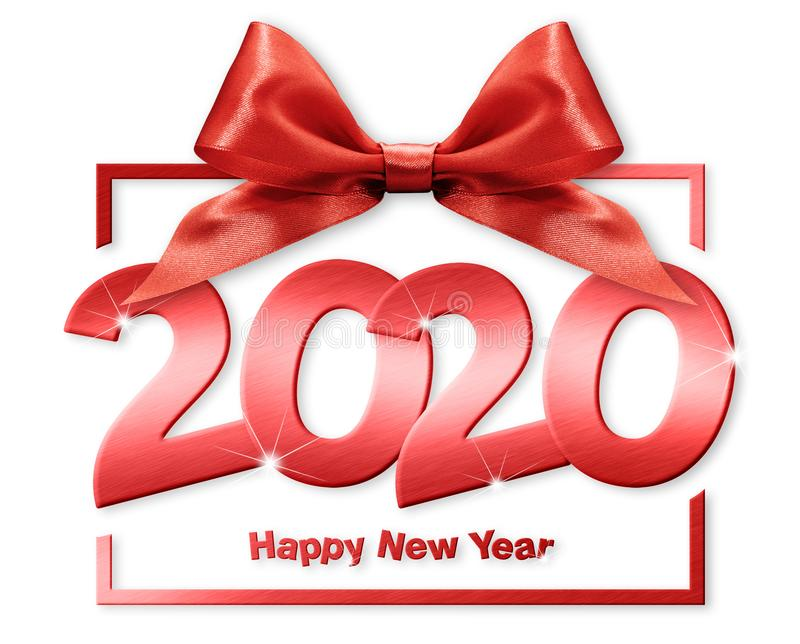 2020 happy new year number text in box frame with red ribbon bow isolated on white  background.  royalty free stock photography