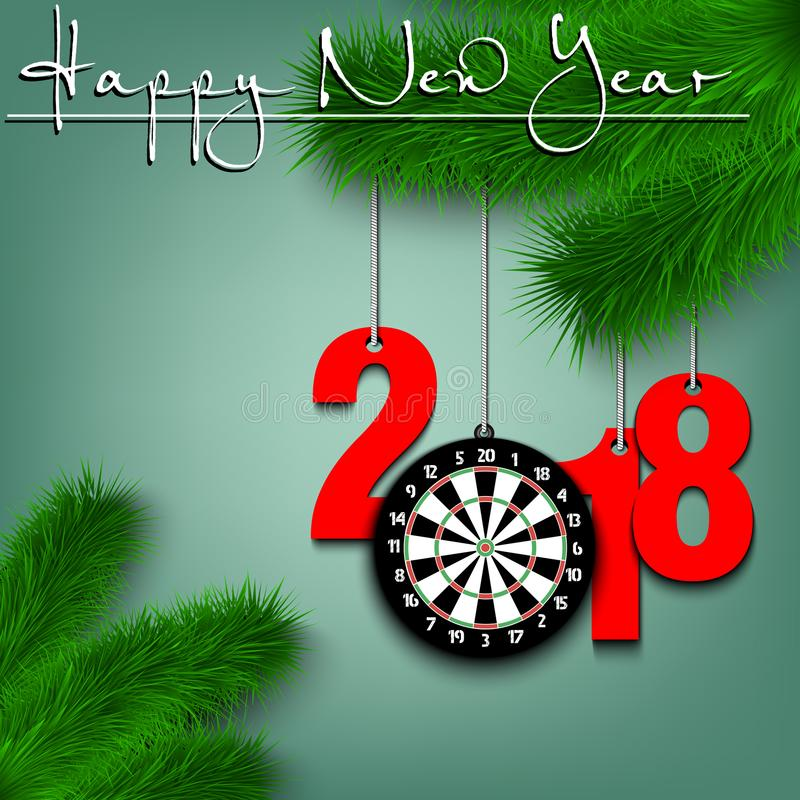 Darts Boardl And 2018 On A Christmas Tree Branch Stock ...
