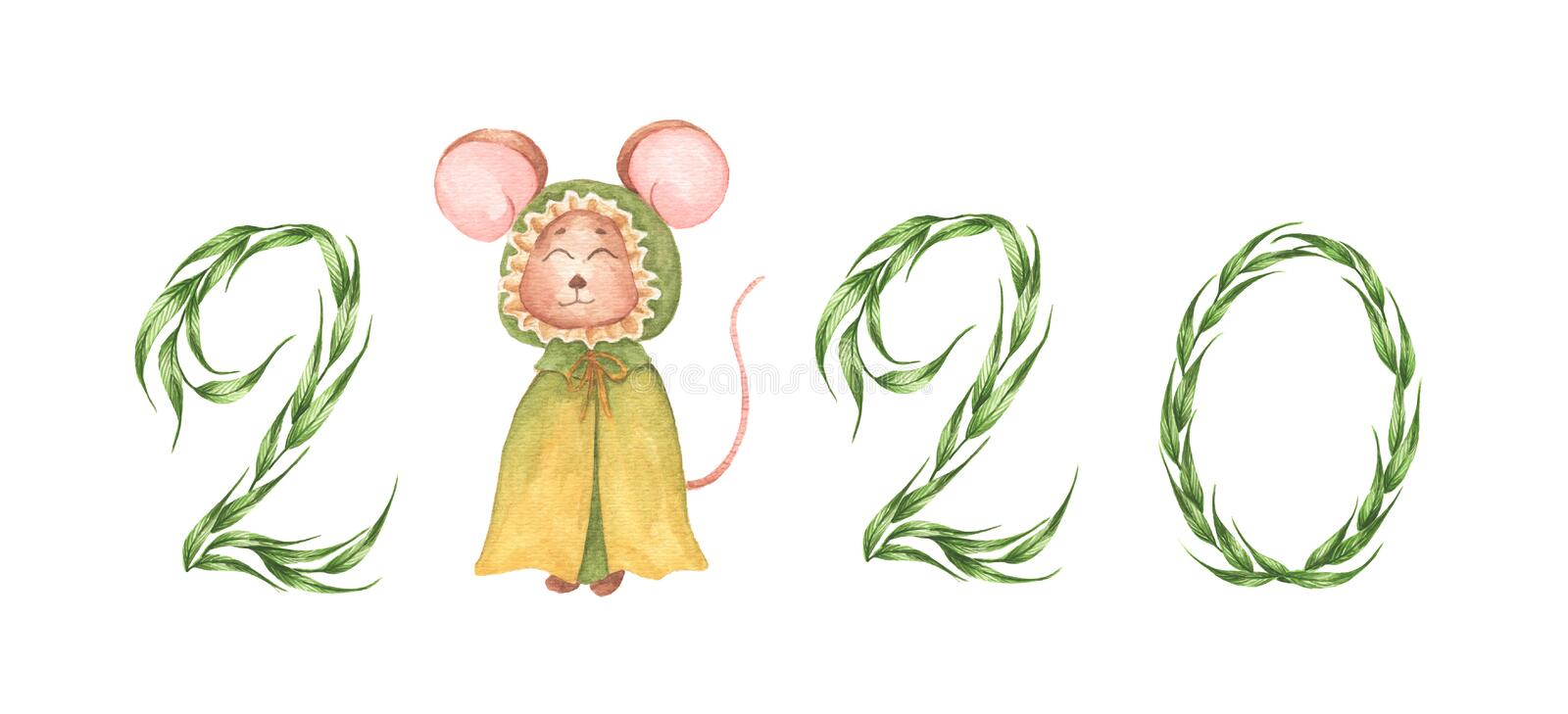 Happy New Year 2020 numbers and little mouse in green cloak with hood royalty free illustration