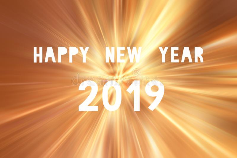 Happy new year 2019 on orange lights blur background stock images