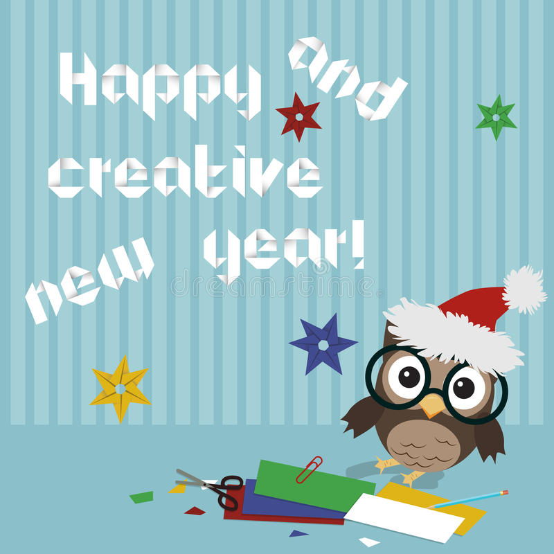 Happy new year owl. Creative illustration of little owl crafting origami New year text and snowflakes royalty free illustration