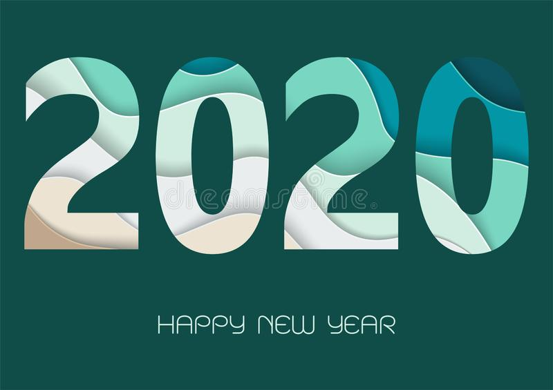 Happy new year 2020 with paper art numbers in green and blue colors,for decorative greeting card or calendar royalty free stock photography