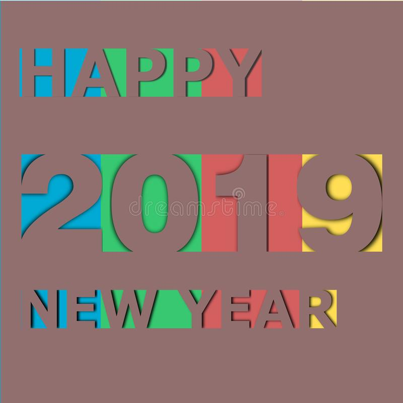 Happy new year 2019 on paper card stock illustration