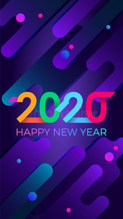 2020 Happy New Year. Paper Memphis geometric bright style for holidays flyers, greetings, invitations, Happy New Year or Merry stock photography