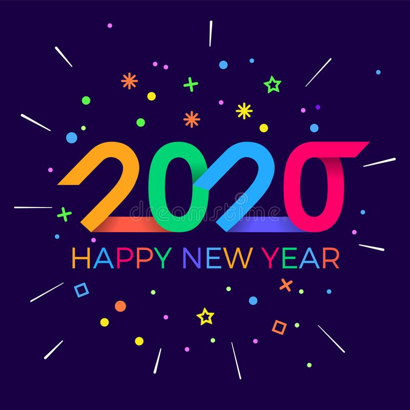 2020 Happy New Year. Paper Memphis geometric bright style for holidays flyers, greetings, invitations, Happy New Year or Merry stock image
