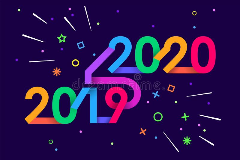 2020 Happy New Year. Paper Memphis geometric bright style for holidays flyers, greetings, invitations, Happy New Year or stock images