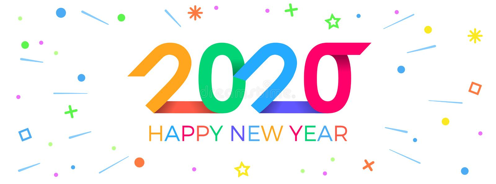 2020 Happy New Year. Paper Memphis geometric bright style for holidays flyers, greetings, invitations, Happy New Year or royalty free stock photos