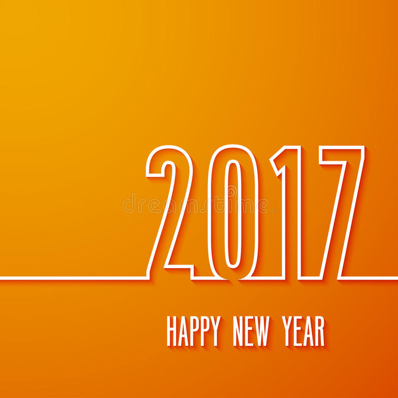 Happy new year 2017 paper postcard. vector illustration