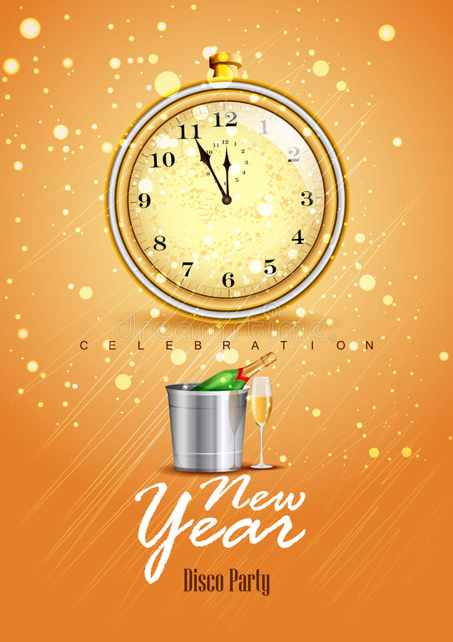 Happy New Year 2017 party celebration poster royalty free illustration