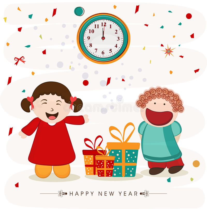 Happy New Year party celebrations concept. Cute little girls pointing to the clock and showing time for Happy New Year party celebration with gifts on stylish vector illustration