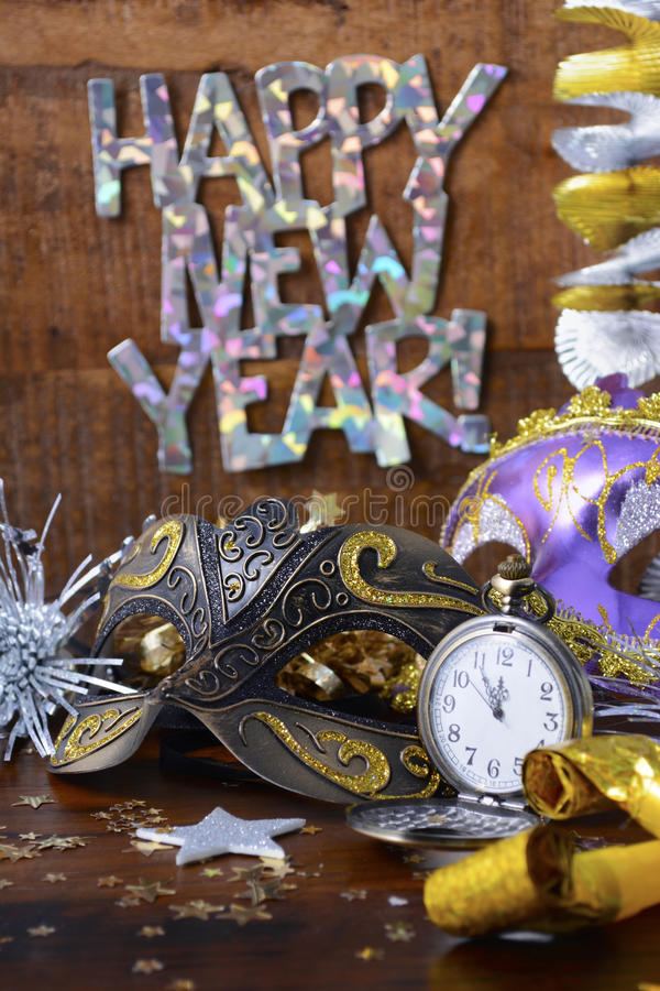 Happy New Year Party Decorations. Stock Photo - Image of ...