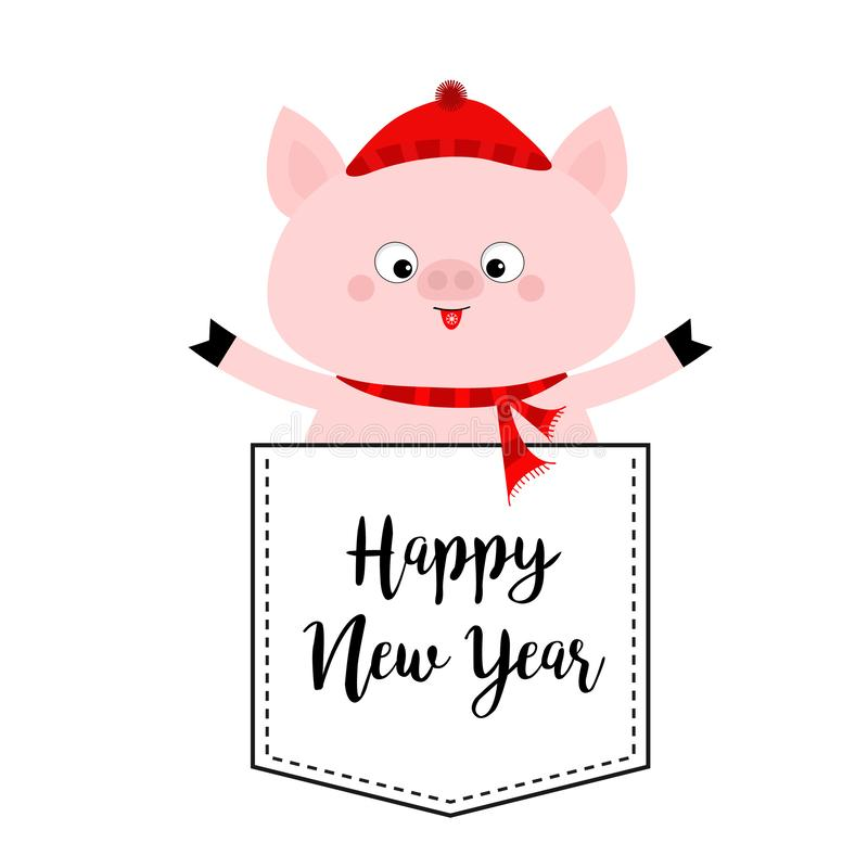 Happy New Year. Pig face head in the pocket. Red hat, scarf. Cute cartoon animals. Piggy piglet character. Dash line. White and. Black color. T-shirt design stock illustration