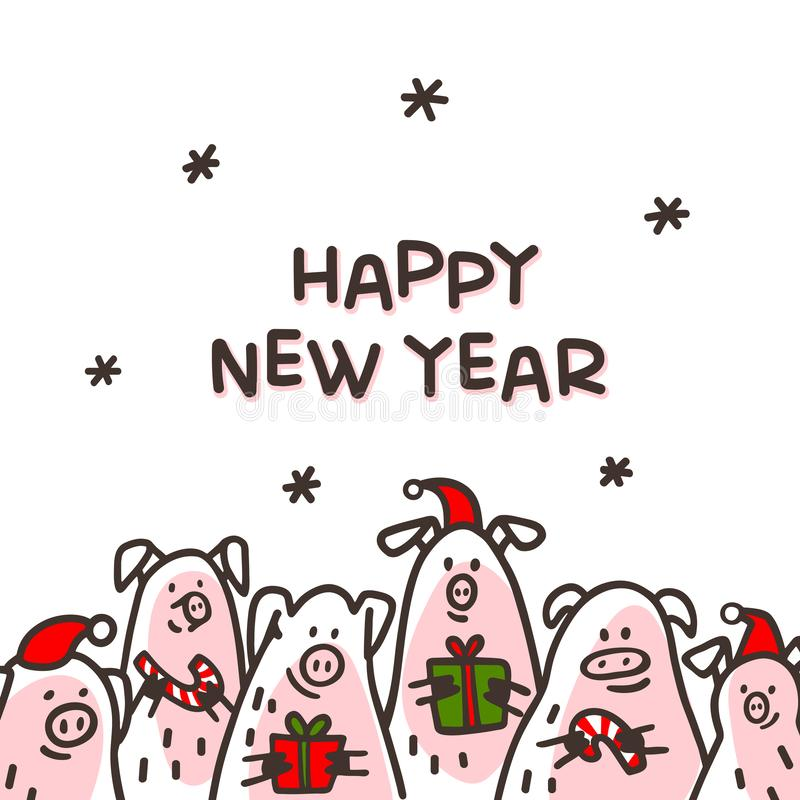 Happy new year Pig greeting card. Funny pigs with candy canes, gifts and santa hats. 2019 Chinese New Year symbol. Doodle style characters for greeting cards vector illustration