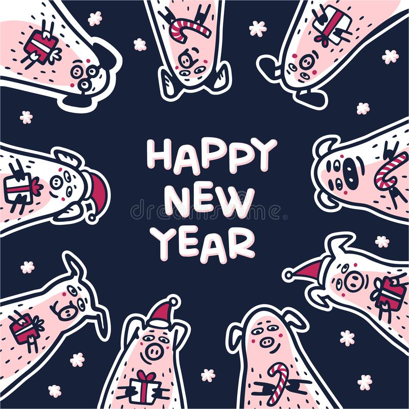 Happy new year Pig greeting card. Funny pigs with candy canes, gifts and santa hats. 2019 Chinese New Year symbol. Doodle style characters for greeting cards royalty free illustration
