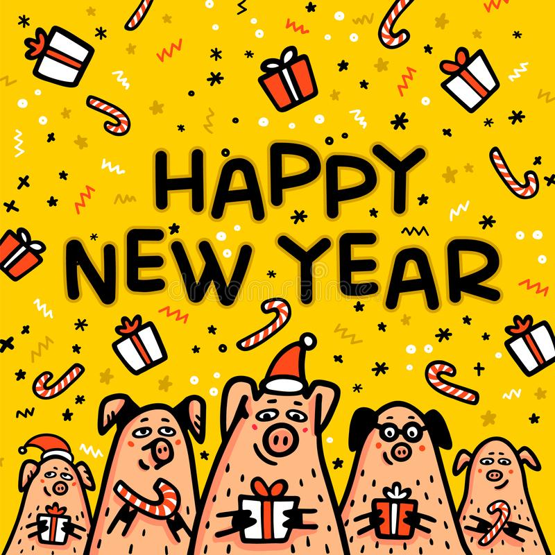 Happy new year Pig yellow greeting card. Funny pigs with candy canes, gifts and santa hats. 2019 Chinese New Year symbol. Doodle style characters for cards vector illustration