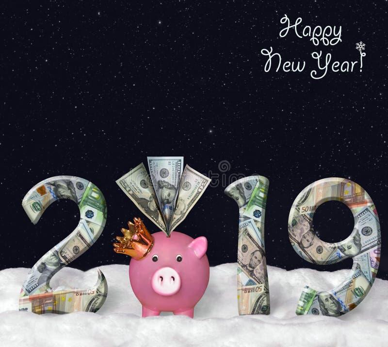 Piggy bank on the snow 2019 royalty free stock photos