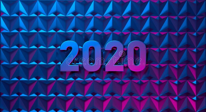 2020 happy new year pink and blue illustration royalty free illustration