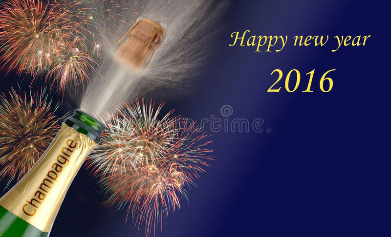 Happy new year 2016 with popping champagne stock images