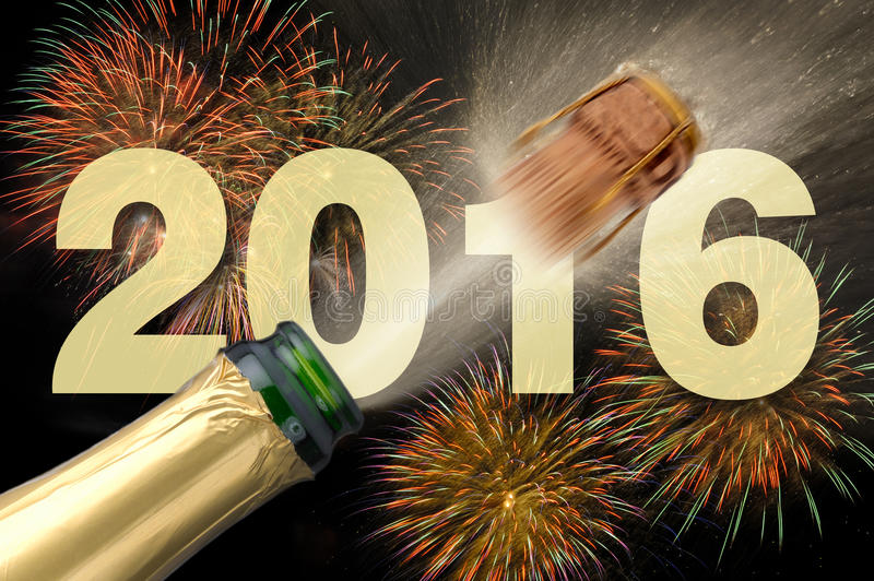 Happy new year 2016 with popping champagne stock image