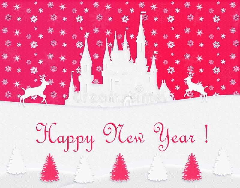 Happy New Year Post card, white castle, reindeer, red background. Happy New Year Post card 2018. Winter, Holiday, white Castle, Old Town, Reindeer, multicolored vector illustration