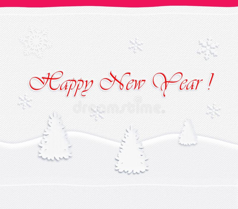 Happy New Year Post card, white fir tree paper cut. Happy New Year Post card 2018. Winter, Holiday, white christmas fir tree on white fabric background with vector illustration