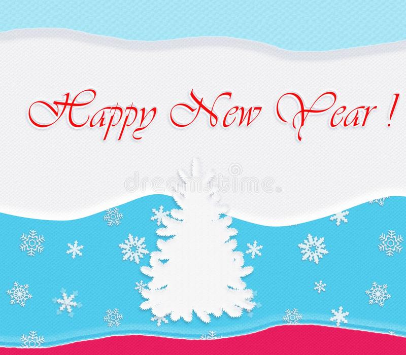 Happy New Year Post card. Winter, Holiday, fir-tree. Digital Illustration for printable, web and other production vector illustration