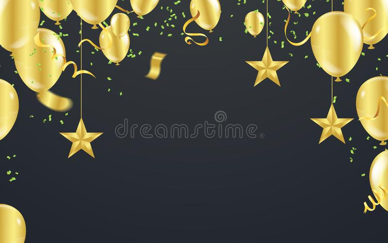 Happy New Year Postcard Celebration banner with Gold balloons background. Sale Vector illustration stock illustration