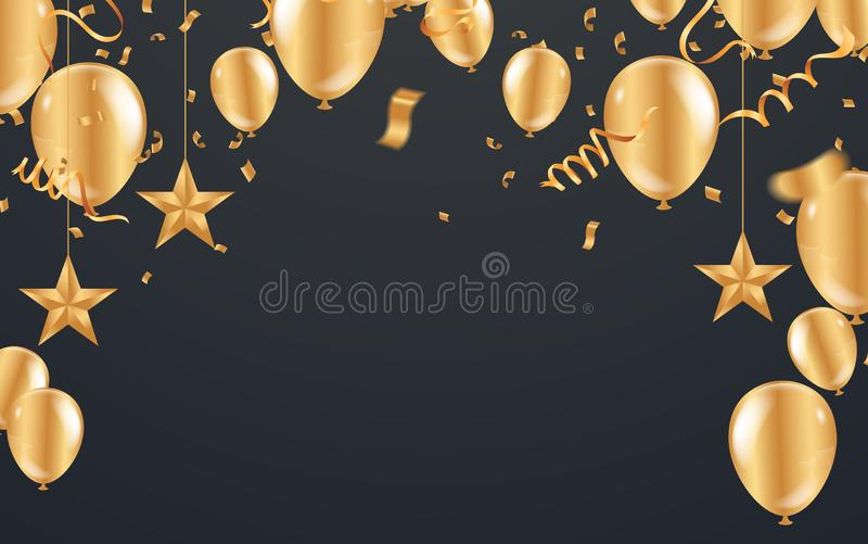 Happy New Year Postcard Celebration banner with Gold balloons background. Sale Vector illustration royalty free illustration