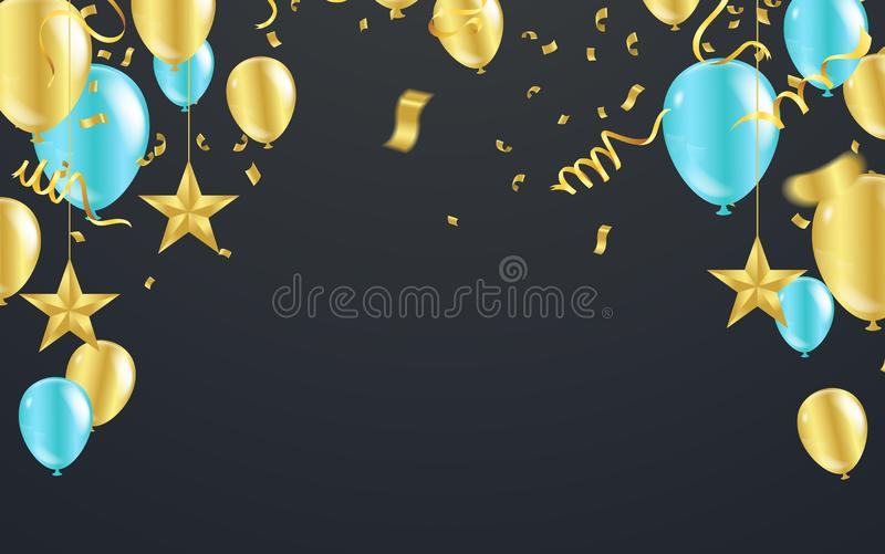 Happy New Year Postcard Celebration banner with Gold and blue balloons background. Sale Vector illustration royalty free illustration